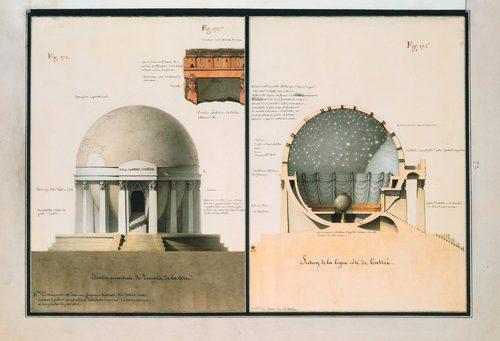 法國建築師 Jean-Jacques Lequeu 的手繪稿《Architecture civile》, courtesy Bibliothèque nationale de France